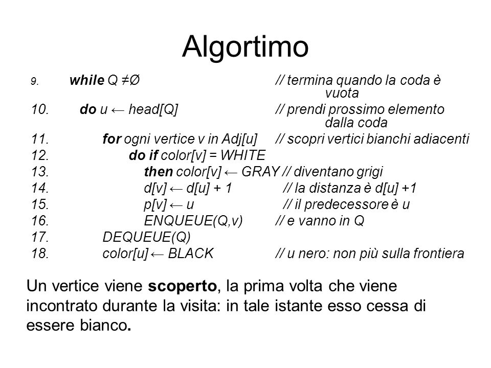 Algortimowhile Q ≠Ø // termina quando la coda è vuota. do u ← head[Q] // prendi prossimo elemento dalla coda.